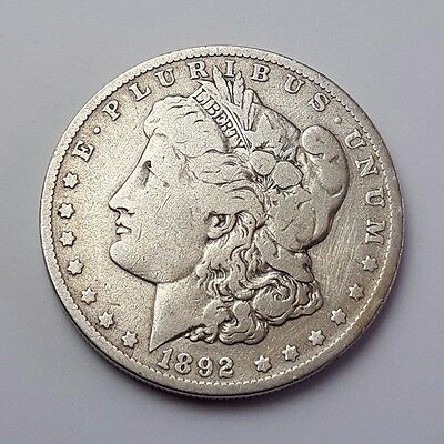 U.s.a - Dated 1892 - Silver - Morgan - $1 One Dollar Coin - American Silver Coin
