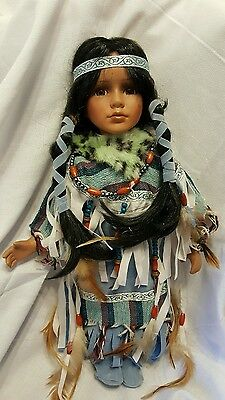 Cathey collections porcelain doll Native American blue dress
