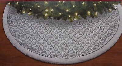 """Trim A Home Christmas Tree Skirt Silver Quilted Faux Fur Trim 48"""" Snowflakes"""