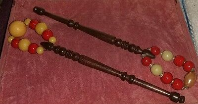 Two Vintage Wooden Bone Carved Lace Bobbins with Spangles
