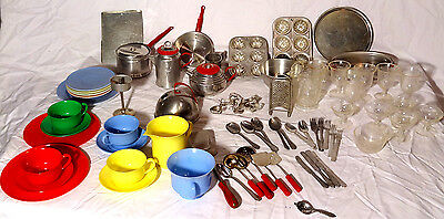 HUGE LOT Vintage Toy Play Kitchen Cookware Bakeware flatware metal tin aluminum