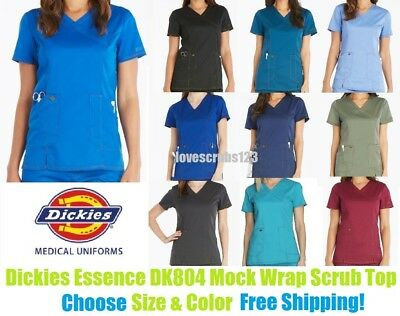 Dickies Essence Mock Wrap Scrub Top DK804 Choose Size & Color Free Shipping!