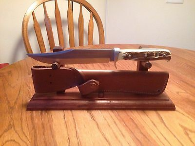 Solid Walnut Wood Knife and Sheath Display Stand