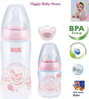 Baby Nuk Pack 300Ml/150Ml Bottles + Dummy Decorated Pink Rose Anti-Colic Set