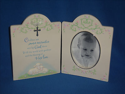 **CLEARANCE** Hallmark Child New Baby Picture Frame Cross Keepsake (F13-11)