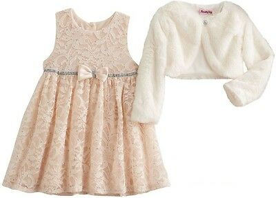NEW Baby Kids Girls Cream Lace Elegant Event Dress Size 0-3-6-9-12-18 months