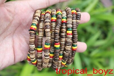 10 Rasta Reggae PALE Brown Coconut Shell Wood Beads Stretchy Bracelets Wholesale