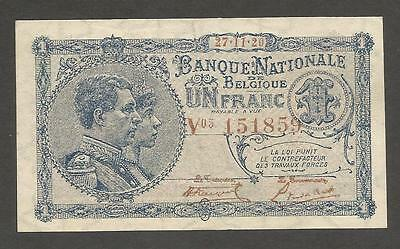 Belgium 1 Franc 27.11.1920; EF; P-92 - King and Queen