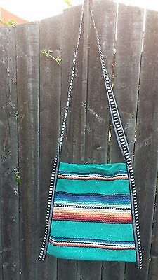 Serape Purse or Tote Bag Ladies XL Southwest Mexican Style Colorful White Band