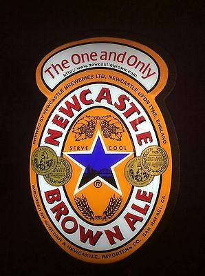 """LARGE DOUBLE-SIDE Newcastle Brown Ale Light Up Beer Pub Bar Sign, 24"""" x 16"""" x 8"""""""