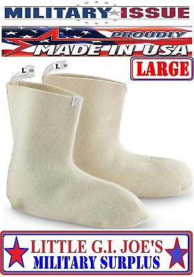 US Military Surplus Extreme Cold Weather N-1B 100% Wool Mukluk Boot Liners LARGE
