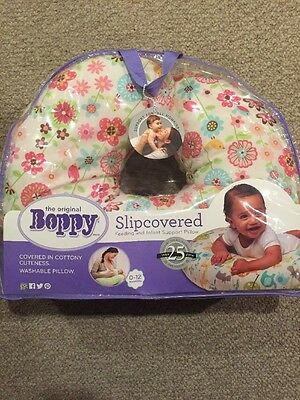 The Original Boppy Slip Covered Feeding and Infant Support Pillow Washable 0-12