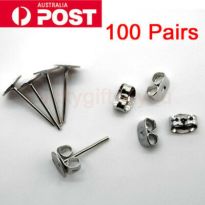 200PCS Earring Stud Posts 6mm Pads & Nut Backs Silvery Surgical Steel NEW AU