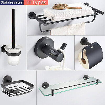 Bathroom Accessories Hand Towel Rail Rack Hook Toilet Brush Paper Holder Black