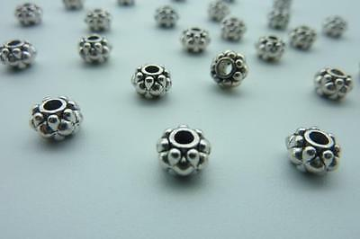 80 pce Metal Antique Silver Rondelle Chunky Bobble Spacer Beads 6.5mm x 4.5mm