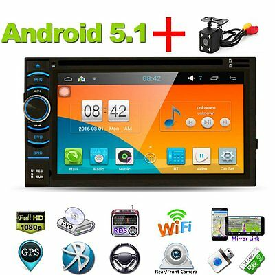 """7"""" Android 5.1 Double 2Din Car Stereo GPS Navi DVD Player Bluetooth + Camera"""