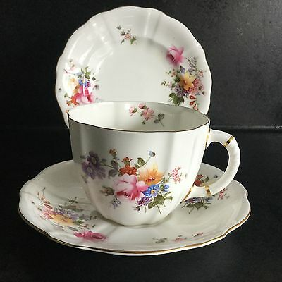 Royal Crown Derby Posies Large Breakfast Cup, Saucer and Tea Plate Trio