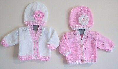 5-7lbs 2Pk Tiny Baby Girls Hand Knitted Cardigans Hats White Pink Baby Shower