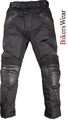 RICHA Memphis Textile Leather Waterproof Motorcycle / Motorbike Black Trouser