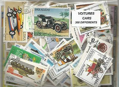 "Lot de 300 timbres thematique "" Automobiles"""