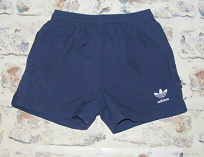 Size 6 W24 Adidas vintage 80s sprinter hotpant running/sport shorts navy (HB95)