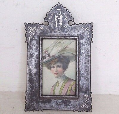 1900's Old Antique Beautiful Handmade Iron Photo Frame with Silver Work #877