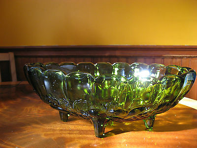 Indiana Glass Footed Fruit Bowl/Compote, Avocodo Green, Thick Scalloped Glass
