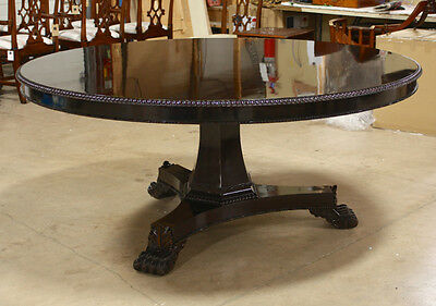 High end 6' round mahogany traditional pedestal formal dining table espresso
