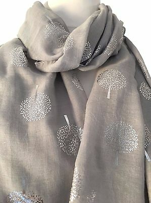 Grey Scarf Silver Tree Print Ladies Large Wrap Foil Mulberry Trees Style Shawl