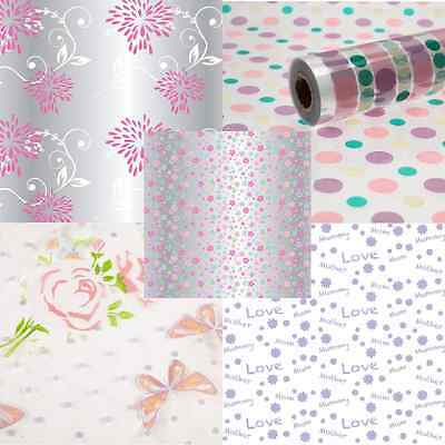 MOTHER'S DAY Cellophane Rolls Clear 80cm Hamper Flower Plant Gift Wrap Film