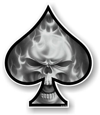 ACE OF SPADES With B & W Flaming Skull Fire vinyl Car Helmet Bike sticker decal