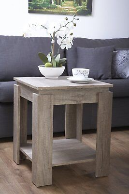 Lamp Table Dark Wood 3D Textured Finish Oak Effect Coffee Side End Table Canyon