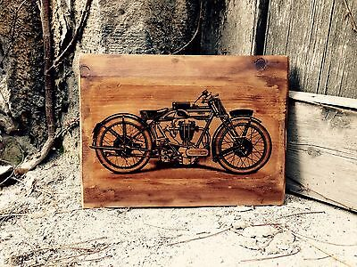 Vintage Norton Motorcycle 500 OHV Home Decor Wall Decor Wooden Picture Artwork