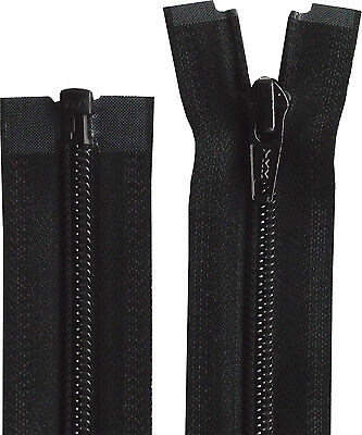 Black YKK 10-76 Inch (25cm-193cm) OPEN END Nylon Zip