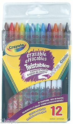 Crayola Art Craft Drawing Painting 12 Erasable Twistables Coloured Pencils