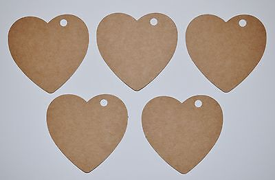 100 x Hearts Vintage Brown Tags Valentines Wedding Favors Party No String