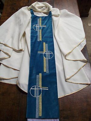 Contemporary Ecclesiastical Cream Gothic Chasuble With Velvet Clergy Vestment