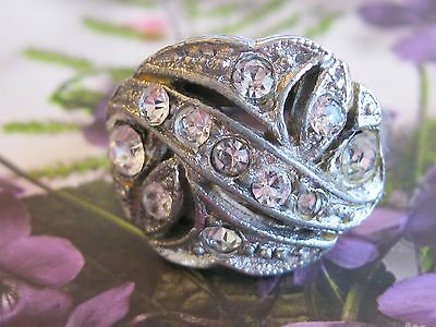 Vintage 1940's Costume Jewelry Ring Silver Toned With Clear Pave Rhinestones S 8