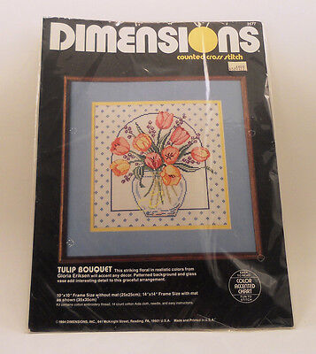 """NEW Dimensions Counted Cross Stitch Tulip Bouquet 14"""" X14"""" Frame Size Mat"""