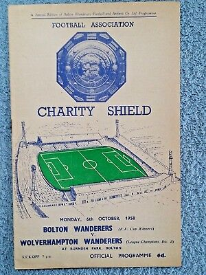 1958 - CHARITY SHIELD PROGRAMME - BOLTON v WOLVES