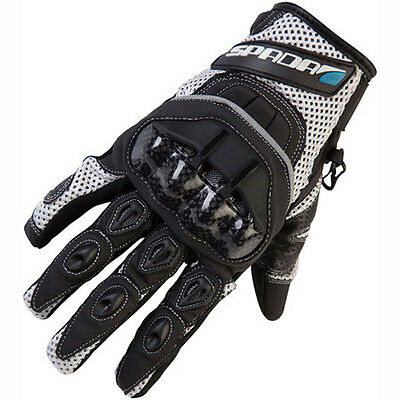 New White M Spada MX Air Hard Knuckle Protection Gloves Motocross Enduro