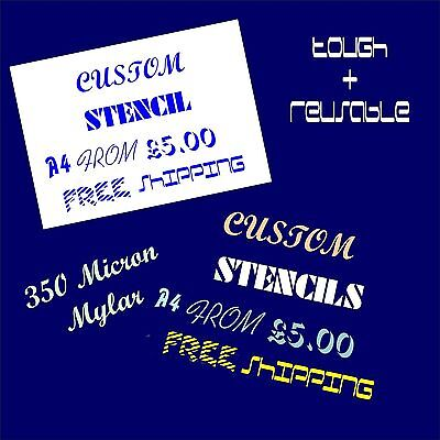 Custom Text Stencil 350 Micron Mylar Strong Flexible Reusable   Choose Size/Font