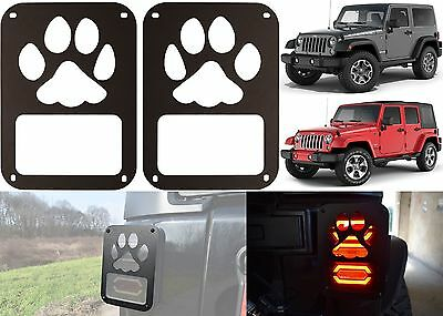 PAIR Dog Paw Tail Light Covers For 2007 2017 Jeep Wrangler New Free Shipping