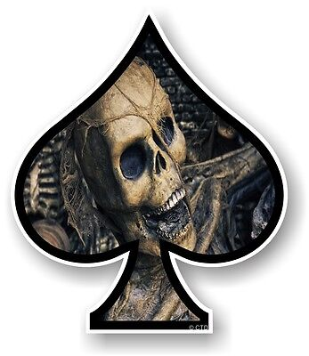 ACE OF SPADES With Evil Gothic Skull Inside Vinyl Car Biker Helmet Sticker Decal