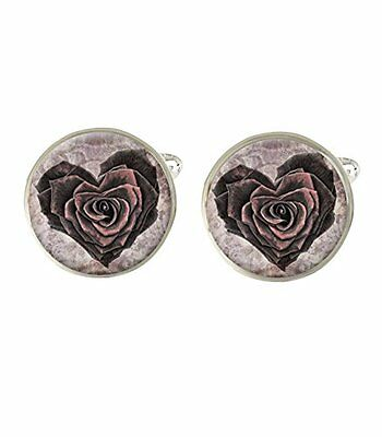Rose Love Heart Mens Cufflinks Ideal Birthday Fathers Day Valentines Gift C556