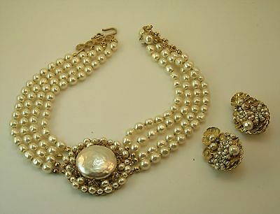 Vintage Miriam Haskell 4 stand baroque pearl necklace and earrings
