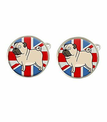 Cartoon Pug Union Jack Dog Mens Cufflinks Birthday Ideal Gift C608