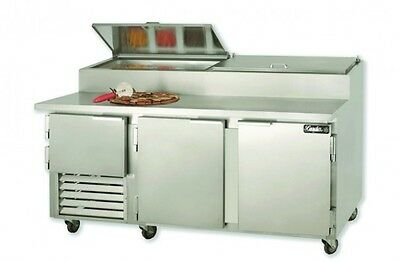 "72"" Commercial Pizza Prep Refrigerated prep table 2 1/2 doors"