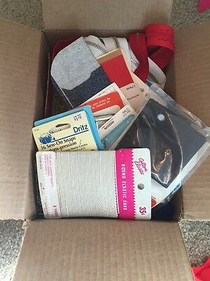 Large Assorted lot of vintage sewing notions Zippers trim snaps New Used Blade