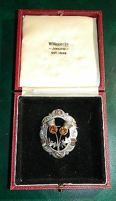 1959 EDIMBURGH SCOTTISH BROOCH STERLING SILVER AND 9ct GOLD, MAD WARD BROTHERS